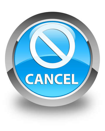 abort: Cancel (prohibition sign icon) glossy cyan blue round button