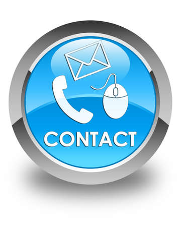 phone button: Contact (phone, email and mouse icon) glossy cyan blue round button