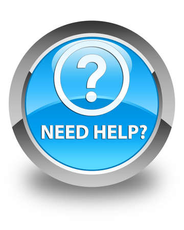 need help: Need help (question icon) glossy cyan blue round button