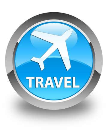 airway: Travel (plane icon) glossy cyan blue round button