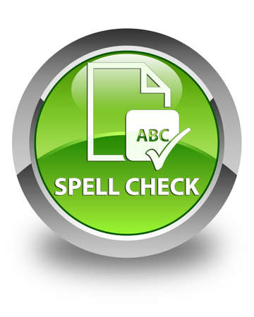paper spell: Spell check document glossy green round button