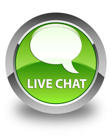 green button: Live chat glossy green round button Stock Photo