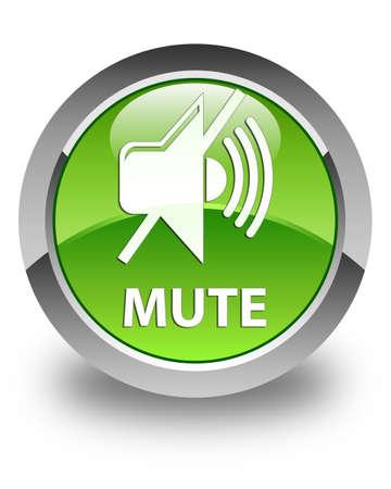 mute: Mute glossy green round button Stock Photo