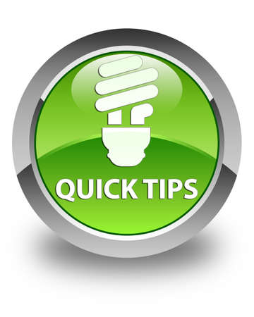 hints: Quick tips (bulb icon) glossy green round button Stock Photo
