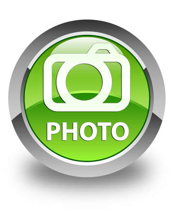 glossy button: Photo (camera icon) glossy green round button Stock Photo