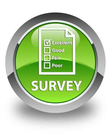 questionnaire: Survey (questionnaire icon) glossy green round button