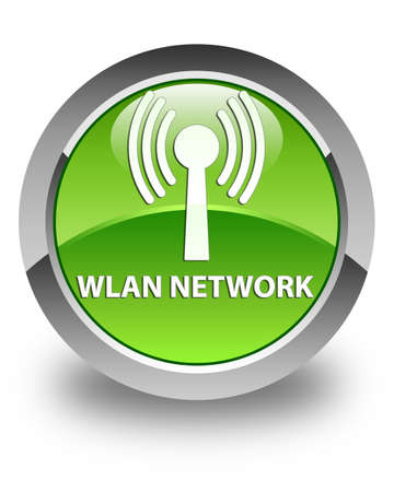 wlan: Wlan network glossy green round button Stock Photo