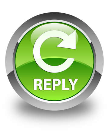 reply: Reply (rotate arrow icon) glossy green round button