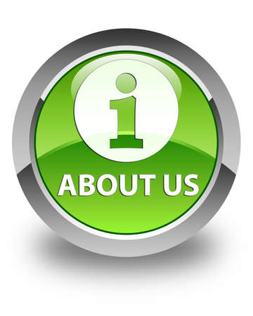 about us: About us glossy green round button