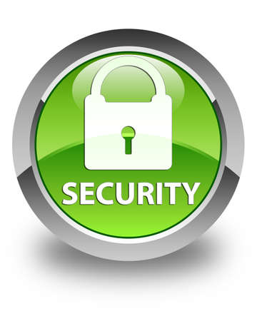 defend: Security (padlock icon) glossy green round button