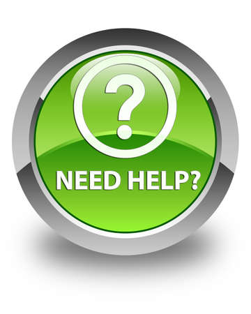 need help: Need help (question icon) glossy green round button