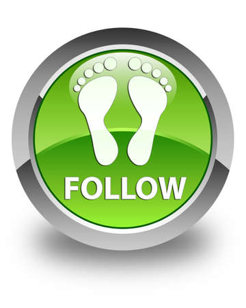green footprint: Follow (footprint icon) glossy green round button