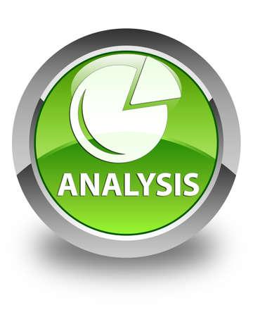 stat: Analysis (graph icon) glossy green round button Stock Photo