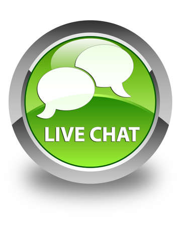 instant message: Live chat glossy green round button Stock Photo