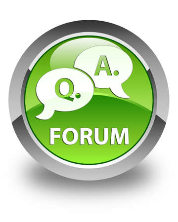 answer: Forum (question answer bubble icon) glossy green round button Stock Photo
