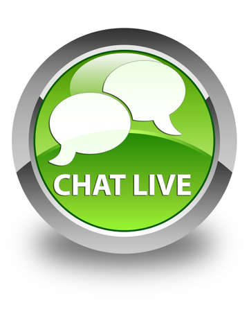 instant message: Chat live glossy green round button