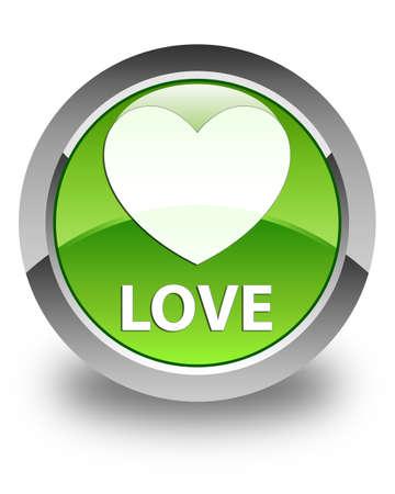 valentin's: Love glossy green round button