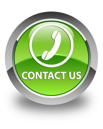 phone us: Contact us (phone icon round border) glossy green round button