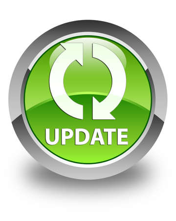 update: Update glossy green round button Stock Photo