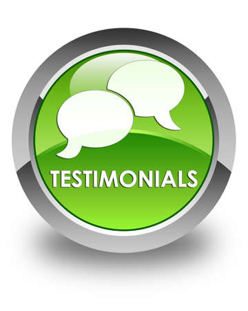 authenticate: Testimonials (chat icon) glossy green round button