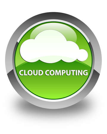 green computing: Cloud computing glossy green round button