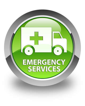 emergency services: Emergency services glossy green round button