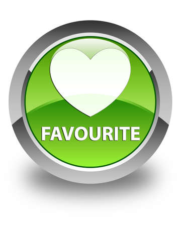 favourite: Favourite (heart icon) glossy green round button
