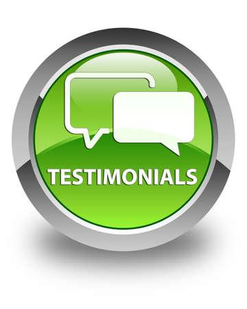 authenticate: Testimonials glossy green round button Stock Photo