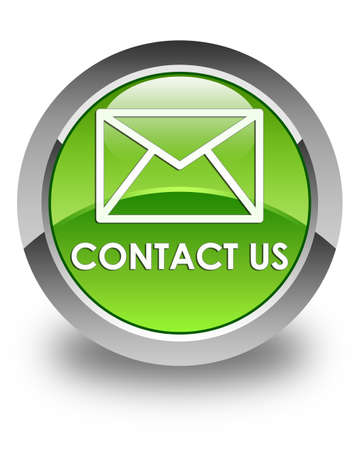 flysheet: Contact us (email icon) glossy green round button Stock Photo