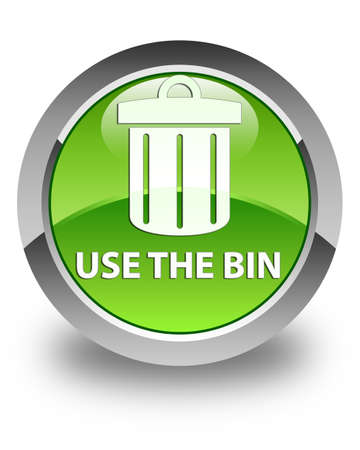 green button: Use the bin (trash icon) glossy green round button Stock Photo