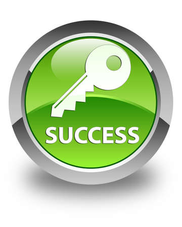 success key: Success (key icon) glossy green round button