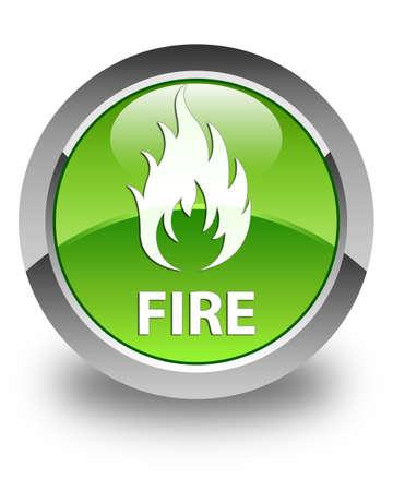 round button: Fire glossy green round button