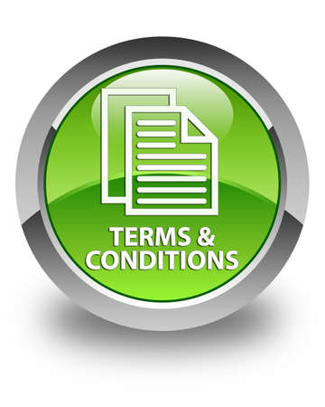 terms: Terms and conditions (pages icon) glossy green round button Stock Photo