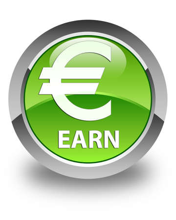 earn: Earn (euro sign) glossy green round button