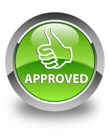 approved: Approved (thumbs up icon) glossy green round button Stock Photo