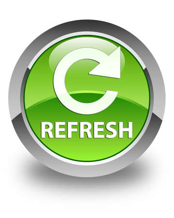 rotate: Refresh (rotate arrow icon) glossy green round button