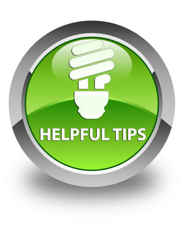 hints: Helpful tips (bulb icon) glossy green round button Stock Photo