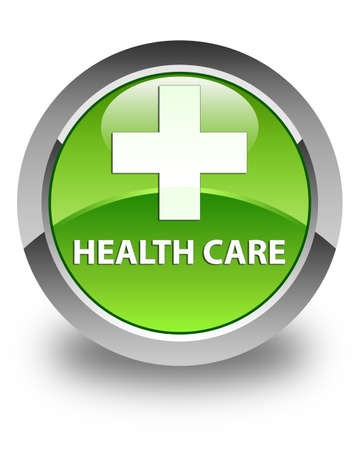 green plus: Health care (plus sign) glossy green round button