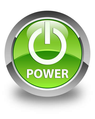 green power: Power glossy green round button Stock Photo