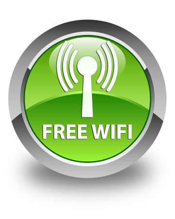wlan: Free wifi (wlan network) glossy green round button