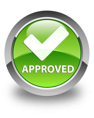 validate: Approved (validate icon) glossy green round button Stock Photo