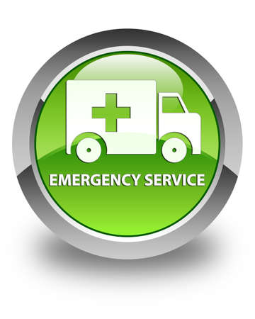 rescue circle: Emergency service glossy green round button