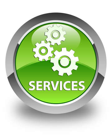 Services (gears icon) glossy green round button Stock Photo