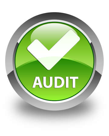 confirm: Audit (validate icon) glossy green round button Stock Photo