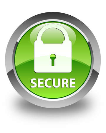 glossy button: Secure (padlock icon) glossy green round button Stock Photo