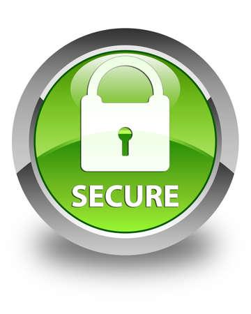 key hole shape: Secure (padlock icon) glossy green round button Stock Photo