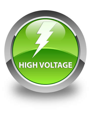 High voltage (electricity icon) glossy green round button Stock Photo
