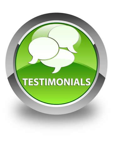 comments: Testimonials (comments icon) glossy green round button Stock Photo