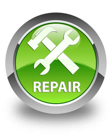 preference: Repair (tools icon) glossy green round button Stock Photo