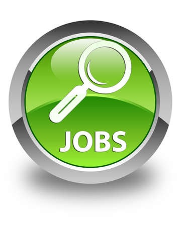 jobs: Jobs glossy green round button
